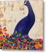 Peacock In My Garden Metal Print