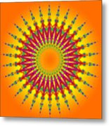 Peacock Sun Mandala Fractal Metal Print