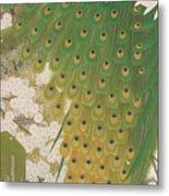 Peacocks And Cherry Tree Metal Print