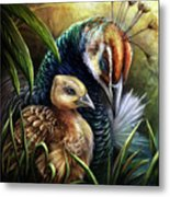 Peahen And Chick Metal Print