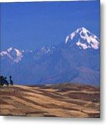 Peaks And Fields Near Cusco Peru Metal Print