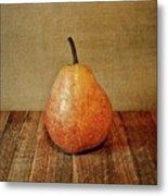 Pear On Cutting Board 1.0 Metal Print