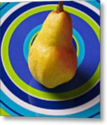 Pear On Plate With Circles Metal Print