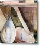 Pear Study In Watercolor Metal Print