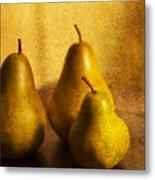 Pear Trio Metal Print by Rebecca Cozart