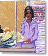 Pearl At The Clothes Press Metal Print