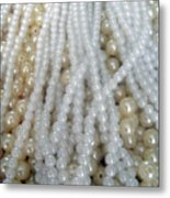 Pearl Beads - White And Beige Metal Print