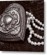 Pearls From The Heart - Sepia Metal Print
