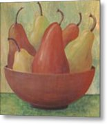 Pears In Copper Bowl Metal Print
