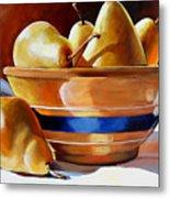 Pears In Yelloware Metal Print