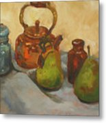 Pears With Copper Kettle Metal Print