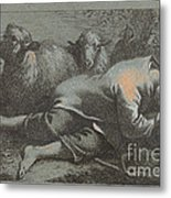 Peasant Boy Asleep Near Two Sheep Metal Print