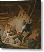 Peasant Brawl In A Tavern Metal Print