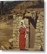 Peasant Carrying Water Metal Print