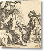 Peasant Couple At Rest Metal Print