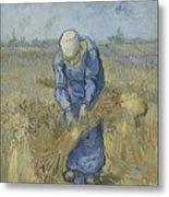 Peasant Woman Binding Sheaves After Millet Saint Remy De Provence  September 1889 Vincent Van Gogh Metal Print