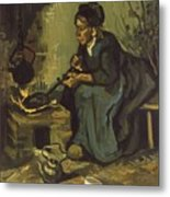 Peasant Woman Cooking By A Fireplace Metal Print