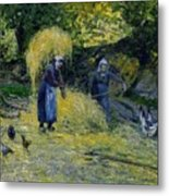 Peasants Carrying Straw Montfoucault 1875 Camille Pissarro Metal Print