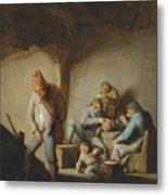 Peasants In The Interior Of An Inn Metal Print