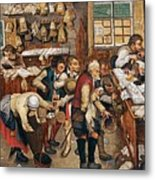 Peasants Paying Tithes By Pieter Bruegel I Metal Print