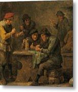 Peasants Playing Dice Metal Print