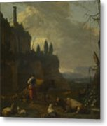 Peasants With Cattle By A Ruin Metal Print
