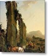 Peasants With Cattle By A Ruined Aqueduct Metal Print