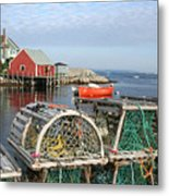 Peggys Cove And Lobster Traps Metal Print