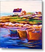 Peggys Cove  Four  Row Boats Metal Print