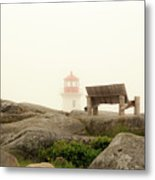 Peggy's Cove Lighthouse And The Banch Metal Print
