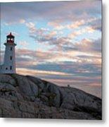 Peggys Cove Lighthouse At Dusk Metal Print