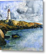 Peggy's Cove Lighthouse Landscape Metal Print