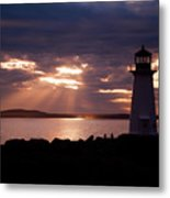 Peggy's Cove Lighthouse Silhouette Metal Print