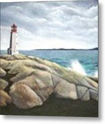 Peggys Light Nova Scotia Metal Print