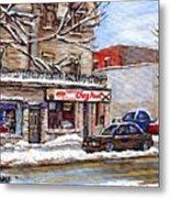 Peintures Petits Formats A Vendre Montreal Original Art For Sale Restaurant Chez Paul The Pointe Psc Metal Print