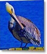 Pelican On Dock Looking Down Metal Print