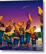 Pelican Sunset Whimsical Cartoon Tropical Birds Seascape Print Blue Orange Purple Yellow Metal Print