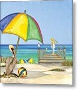 Pelican Under Umbrella Metal Print