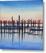 Pelicans At Dusk Metal Print