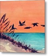 Pelicans Flying Low Metal Print