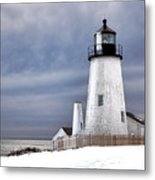 Pemaquid Point Lighthouse In Winter Metal Print