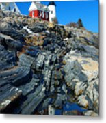 Pemaquid Point Lighthouse Reflection - Seascape Landscape Rocky Coast Maine Metal Print