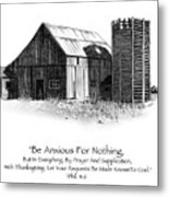 Pencil Drawing Of Old Barn With Bible Verse Metal Print