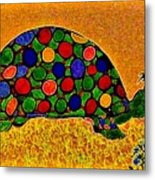 Pencil Sketch And Water Color Turtle Of The Rainbow Metal Print