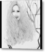 Pencil Sketch Of Blonde Hair Girl Metal Print