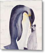 Penguin And Baby Metal Print