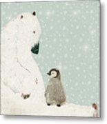 Penguin And Bear Metal Print