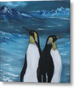 Penguin Family Expectant Again Metal Print by Cynthia Adams