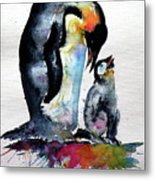 Penguin With Baby Metal Print