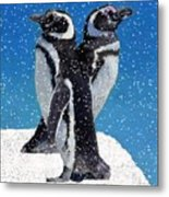 Penguins In The Snow Metal Print
